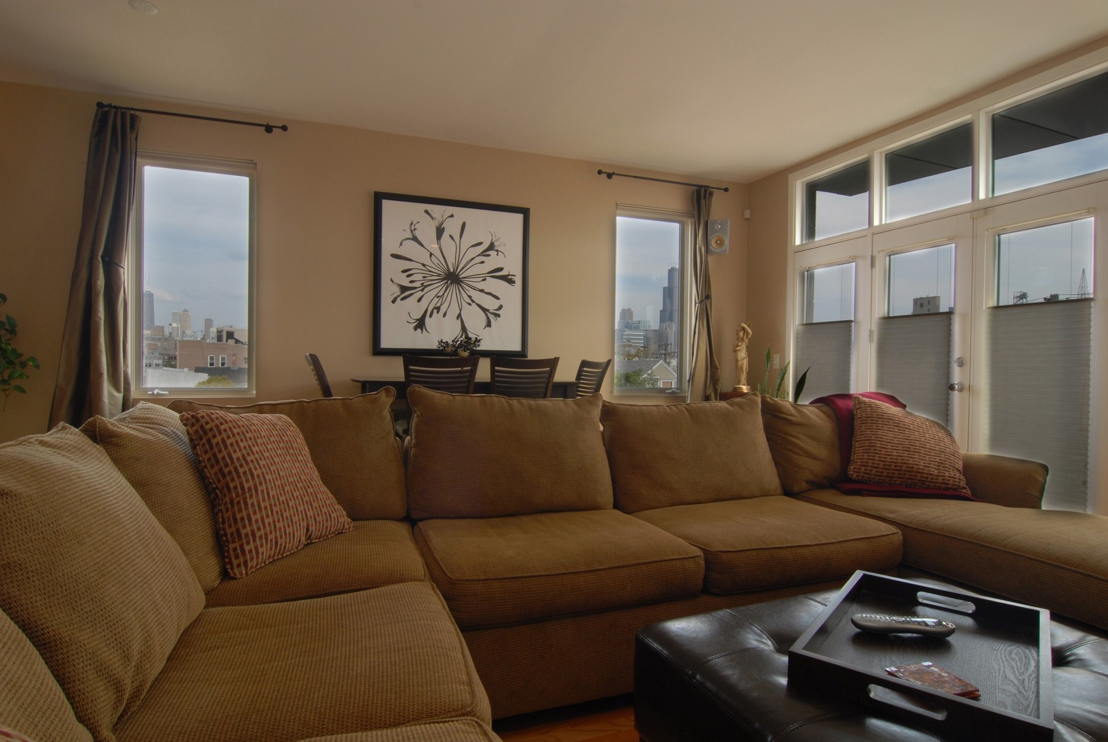 Real Estate Photography - 1413 W Grand, B, Chicago, IL, 60642 - Check out Skyline view in windows!